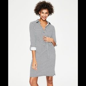 Boden Jena Jersey Floral Button Up Shirt Dress